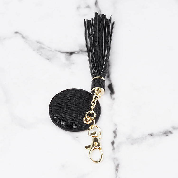 Genuine saffiano leather circle round shape keyring, personal keyring with tassel