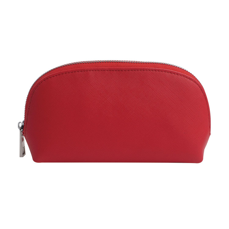 Red saffiano Leather Makeup Bag
