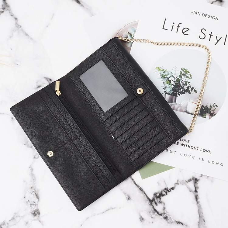 New style women genuine saffiano leather clutch purse ladies with chain