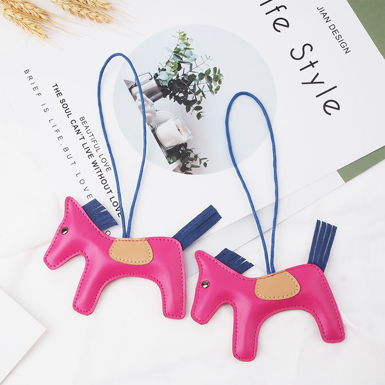 Luxury cute colorful horse design keyring leather keychain