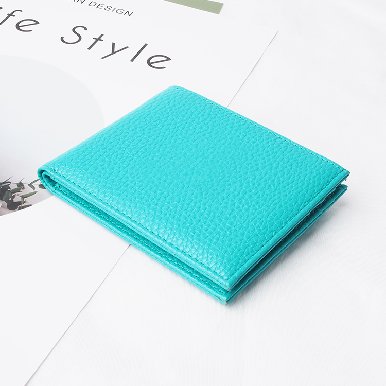 Fashion genuine pebble leather slim wallet for men
