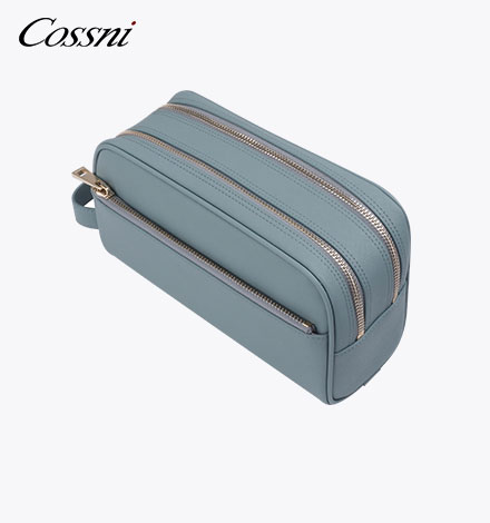 High capacity travel pouch laundry leather wash bag