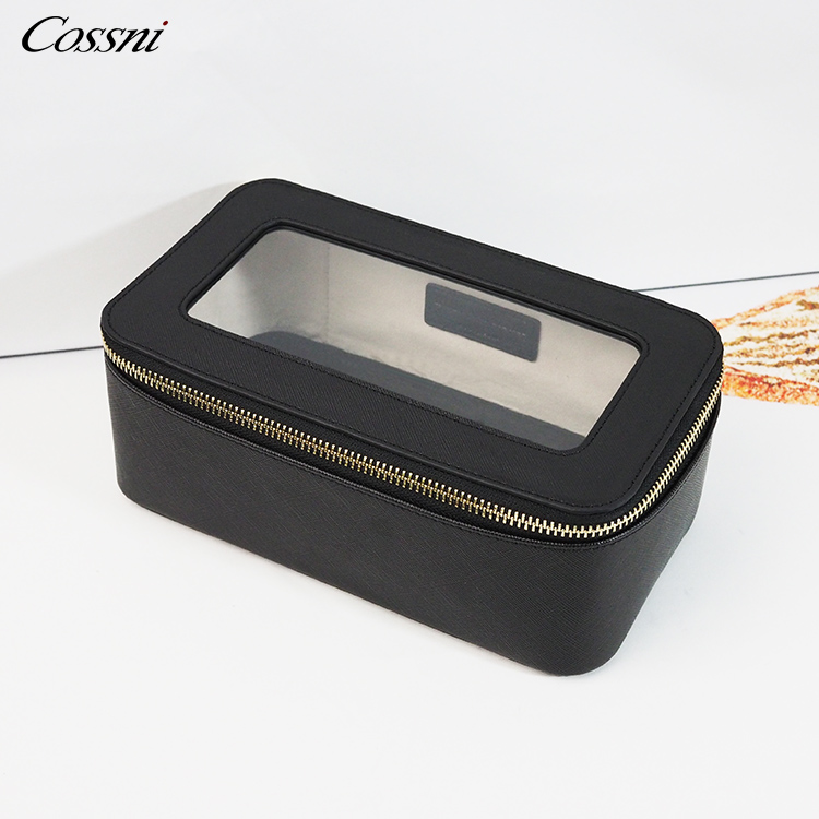 Clear TPU leather pouch cosmetic case travel toiletry bag for ladies