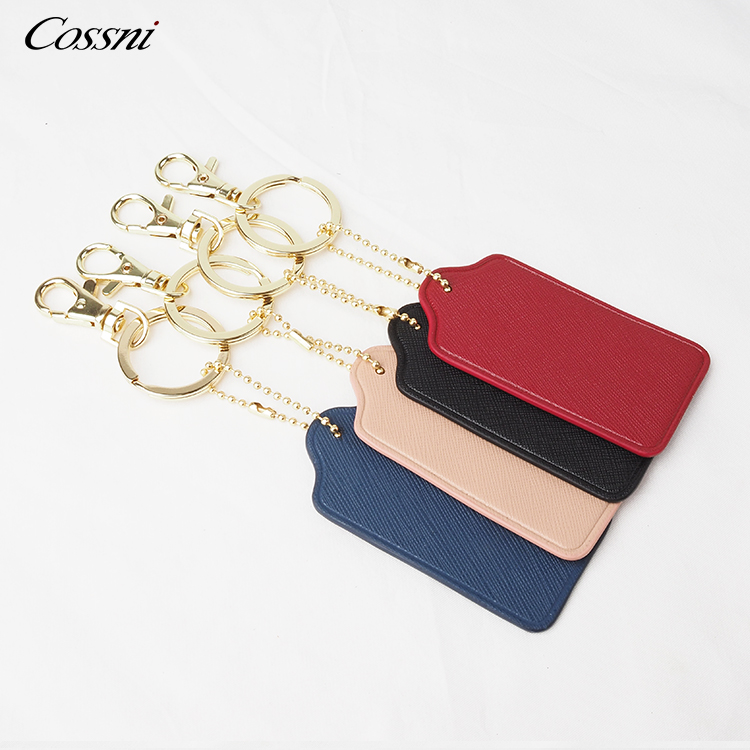 Wholesale Fine finish hardware Genuine leather square shape keychain gift keyring