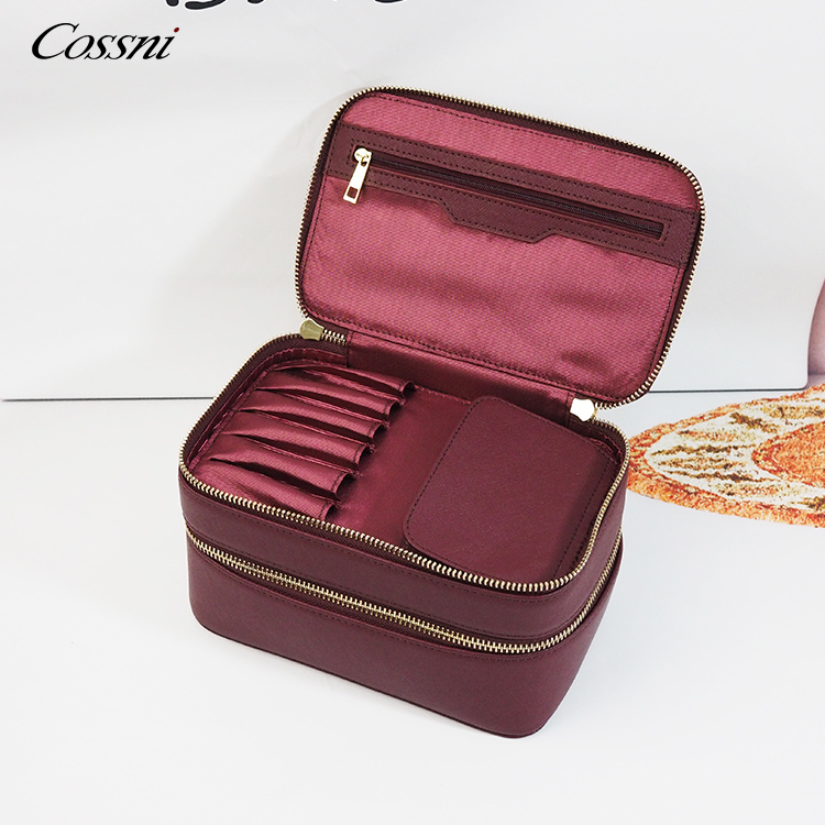 Double decker small tidy genuine leather zipper cosmetic case beauty makeup bag