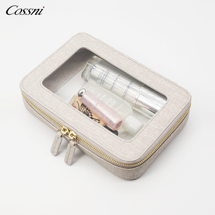 Fashion clear cosmetic bag pu leather make up bag